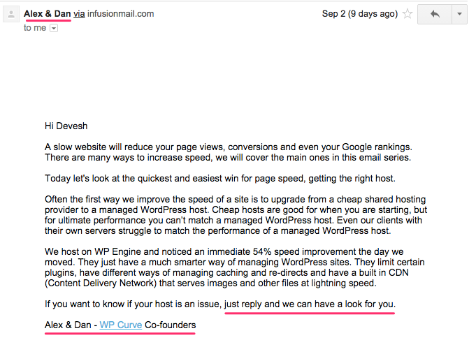 """Think about how corporate and gross this email could be: """"Get WPEngine NOW!!"""" Thanks Alex and Dan."""