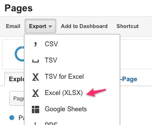google analytics export excel